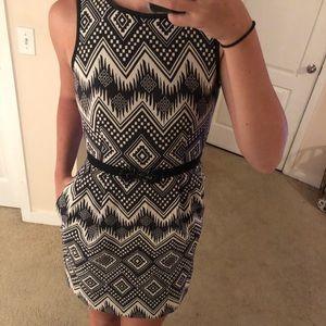 JCrew Size 4 Black & White Tribal dress